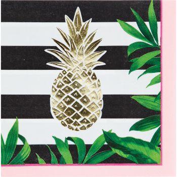 16 Servietten gold ananas