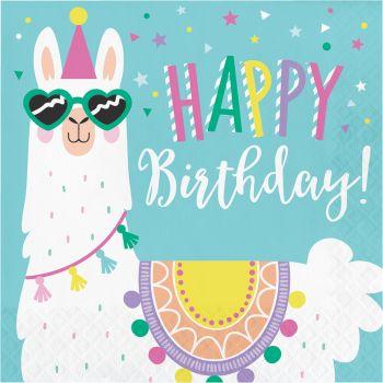 16 Servietten Happy Birthday Lama Party