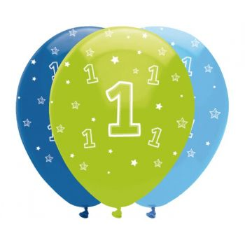6 luftballon 1 Jahr Safari blau