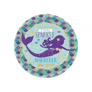 8 kleine Teller metallisiert Meerjungfrau wishes
