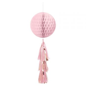 Aufhängung Kugel rosa Papier mit pompons gold rosa