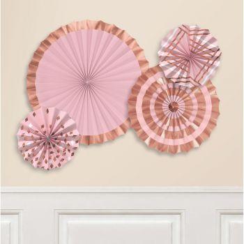 4 Aufhängungen aus Papier Fächer gold rosa