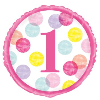 Helium-Ballon 1 Jahr pink dots