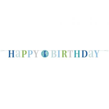 Banner Happy Birthday 1 an blue dots