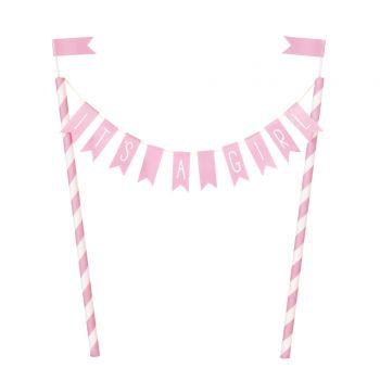 Tortendekoration baby shower love rosa