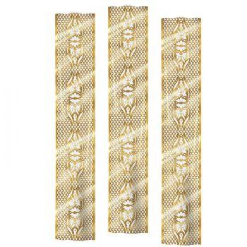3 Dekore Gold-Gitter auf Leinwand