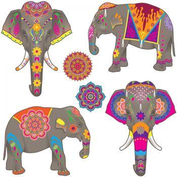 6 Dekorationen Elefanten und Mandala Tausend und eine Nacht