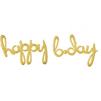 Ballon alu happy b.day gold