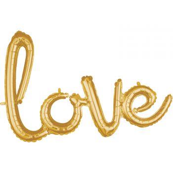 Ballon alu love Skript gold