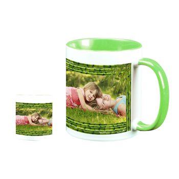 personalisierte Tasse bicolore Bambus-Dekor