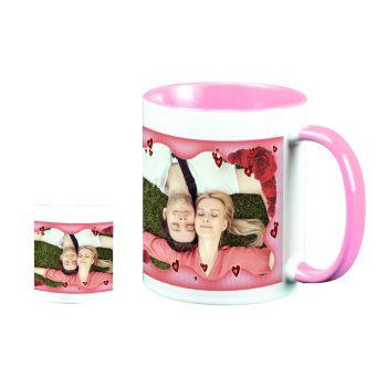 personalisierte Tasse zweifarbig Dekor Herzen und Rosen