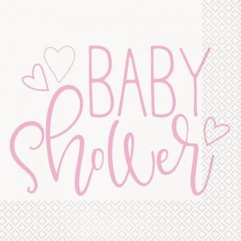 16 Servietten baby shower love rosa