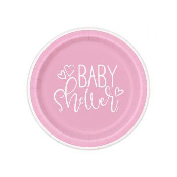 8 Teller dessert baby shower love rosa