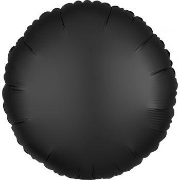Helium Ballon Satin Luxus schwarz rund