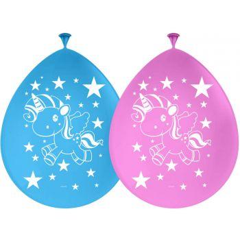 8 Ballons Einhorn Pop