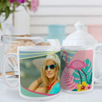 Weiß tasse personalisiert Flamingo Tropical Dekor