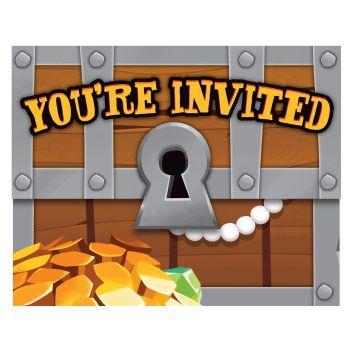 8 Einladungen Piratenschatz