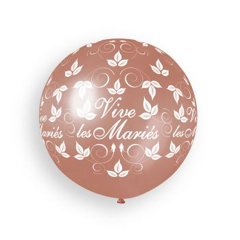 1 Riesiger Ballon Bräutigam gold rosa Ø80cm