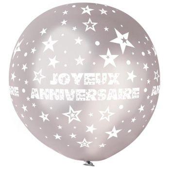 1 Riesiger Ballon Happy Birthday Silber Ø80cm