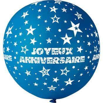 1 Riesiger Ballon Happy Birthday blau König Ø80cm