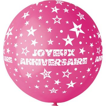 1 Riesiger Ballon Happy Birthday fuchsia Ø80cm