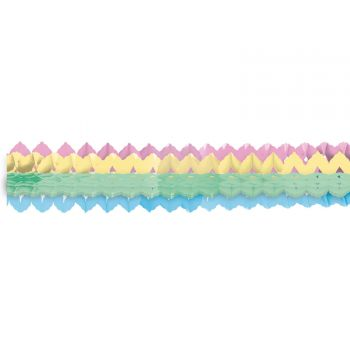 2 mini Girlanden aus Pastellpapier regenbogen