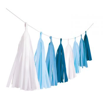 Pompon girlande mit fransen blauem Papier