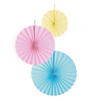 3 Aufhängung Fächer mehrfarbig pastellfarben