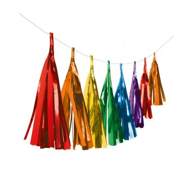 Fahnchen-Pompons mit Fransenpapiermehrfarbig