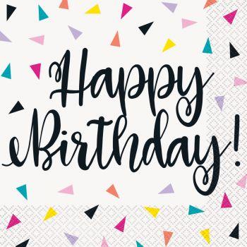 16 Servietten Birthday Dreieck Konfetti