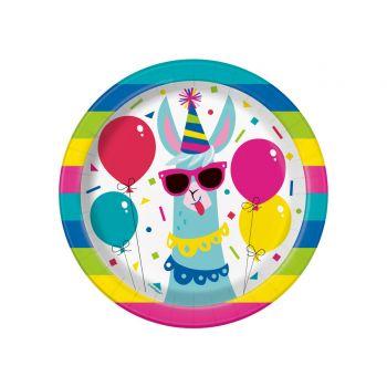 8 Dessert-Teller Lama Birthday