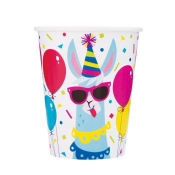 8 Becher Lama Birthday