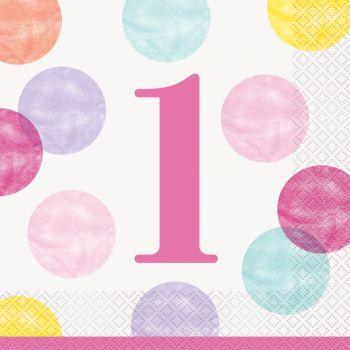 16 Servietten 1 Jahr pink dots