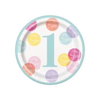 8 Dessert-Teller 1 Jahr pink dots
