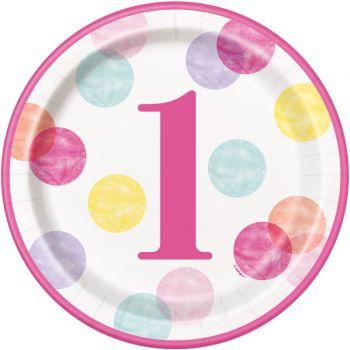8 telles 1 jahr pink dots