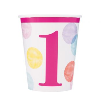 8 Becher 1 Jahr pink dots