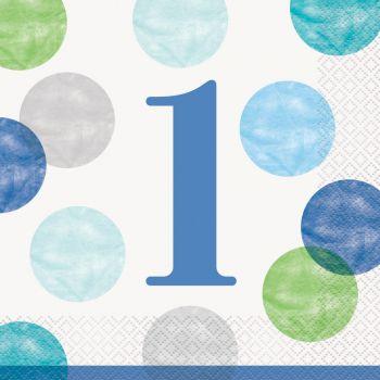 16 Servietten 1 Jahr blue dots