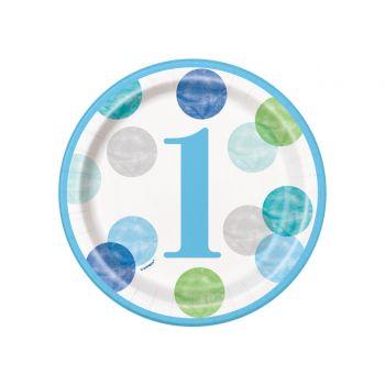 8 Dessert-Teller 1 Jahr blue dots