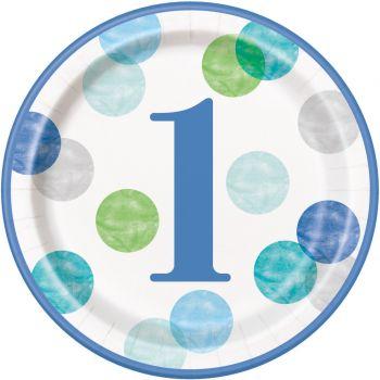 8 Teller Karton 1 Jahr blue dots