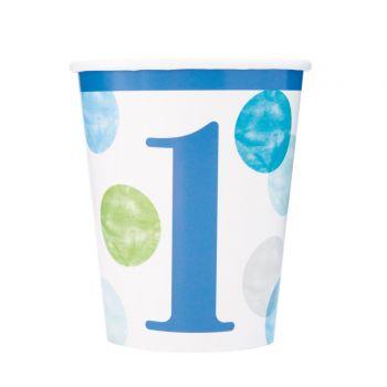 8 Becher 1 Jahr blue dots