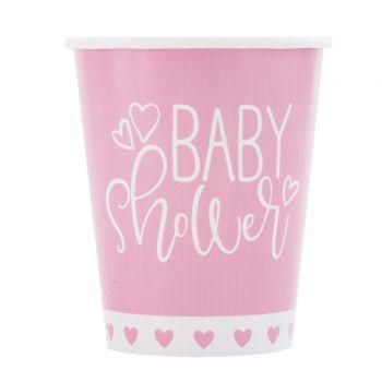 8 Becher baby shower love rosa