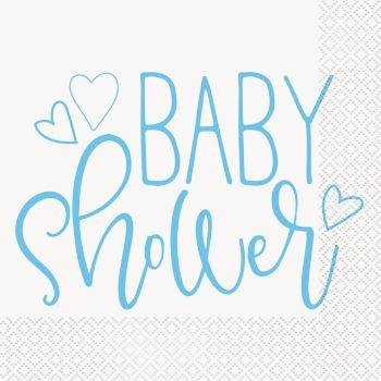 16 Servietten papier baby shower love blau