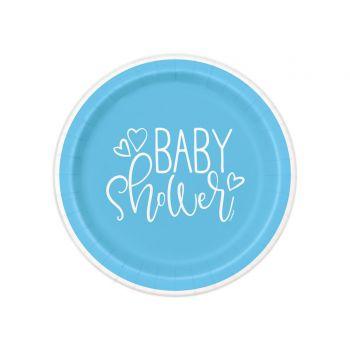 8 Teller dessert baby shower love blau