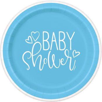 8 Teller baby shower love blau