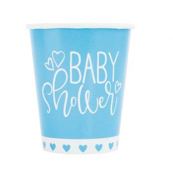 8 Becher baby shower love blau
