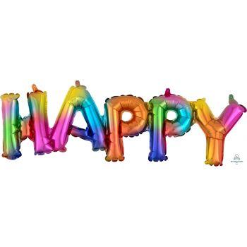 Ballon HAPPY regenbogen