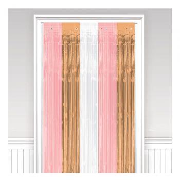 Vorhang gold rosa, rosa und weiß