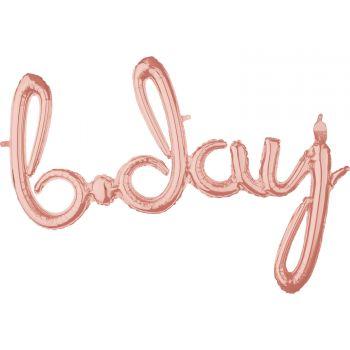 Ballon alu b.day Skript gold rosa