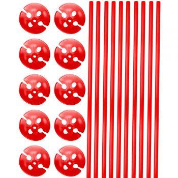 10 Stäbe mit Kolben 40cm rot