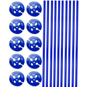 10 Ballonstängel blau 40cm